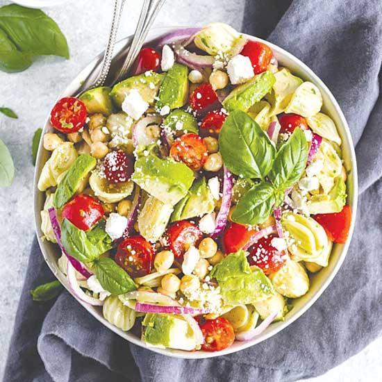 Avocado and Tomato Chickpea Pasta Salad with Lemon Basil Vinaigrette
