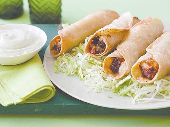 Chicken Flautas with Avocado Cream