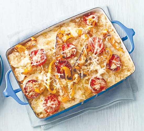 Scalloped Potatoes with Tomatoes and Bell Peppers