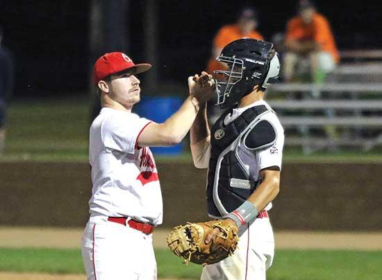Howard Lake starting pitcher Mike Dockendorf handed the Buffalo Bulldogs its first loss of the 2019 amateur baseball season. He was also responsible for their last one.Dockendorf allowed just four hits over nine shutout innings to lead the No. 3...