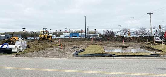 """Despite last week's rainy weather, construction has begun at the site of the future Caribou Cabin in Buffalo. Located off of Hwy 55 and 1st St. NE, the building will be a small """"cabin,"""" offering coffee and products to customers via drive-thru only,..."""