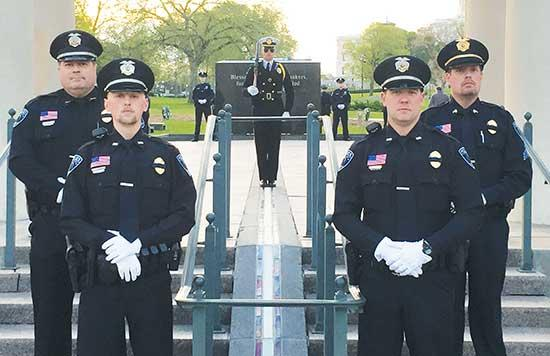 Officers of the Buffalo Police Department took their turn during a 24-hour standing of the guard at MN's Peace Officers Memorial located on the south lawn of the State Capitol leading up to the National Peace Officers Memorial Day service on May 15...
