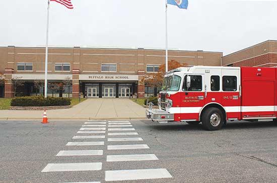 You may not have seen it out at Buffalo High School on Monday, but if you did, you probably recognized the presence of the Buffalo Fire Department, Buffalo Police, Wright County Sher-iff's Office, and Allina EMS parked outside the school's entrance...